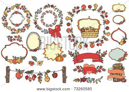 Doodle Harvest template set.Fruits,berries,decor elements