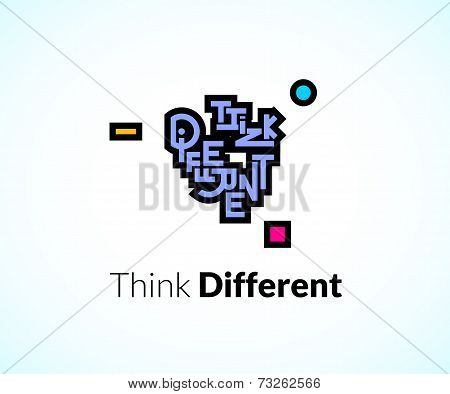Think different phrase, graffiti logo sign, concept icon symbol
