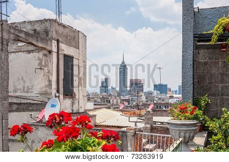 View Of Downtown Skyscrapers From Zocalo Roofs In Mexico City