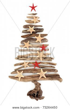 Driftwood christmas tree abstract with starfish over white background