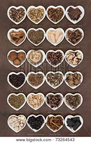 Large chinese herbal medicine selection in heart shaped porcelain bowls over lokta paper background with titles.