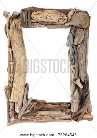 Driftwood frame over a white background.