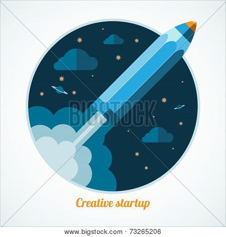 Modern startup concept with starting pen rocket