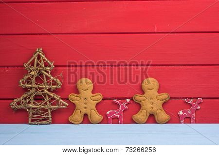 Christmas Tree Reindeer And Gingerbread Man Background