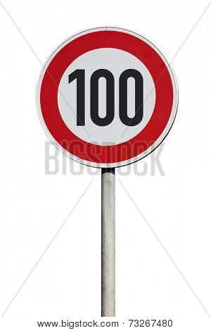 speed limit 100 kilometers Traffic Sign isolated