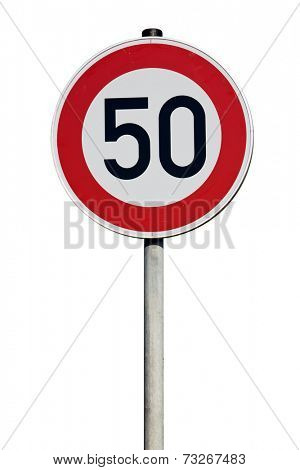speed limit 50 kilometers Traffic Sign isolated