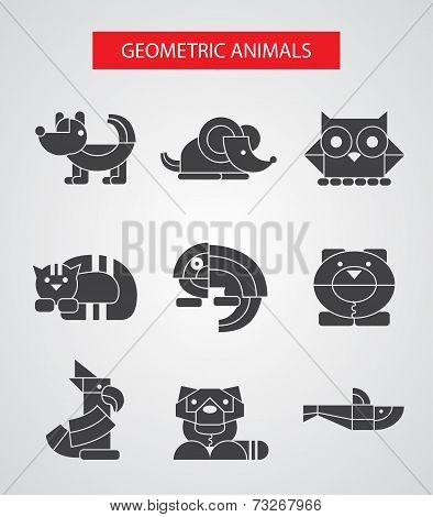 Set of flat design geometric animals icons