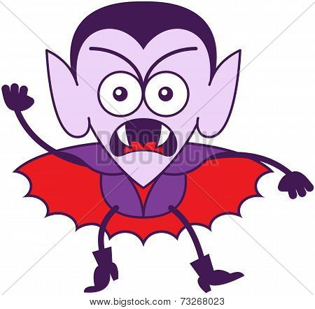 Halloween Dracula feeling furious and protesting