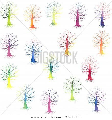 set of colored trees silhouettes
