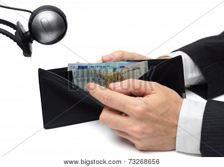 Financial Spying Concept With Wallet And Camera
