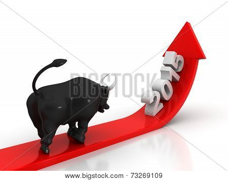 Red arrow going up Bull showing growth in year 2015