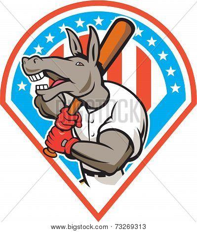 Donkey Baseball Player Batting Diamond Cartoon