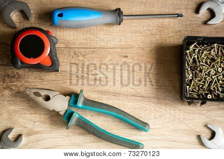 construction tools on wooden desk