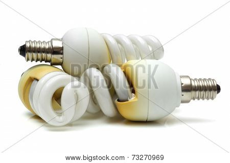 Old  Burnt Used Fluorescent Incandescent Bulbs
