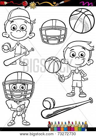 Sport Boy Set Cartoon Coloring Page