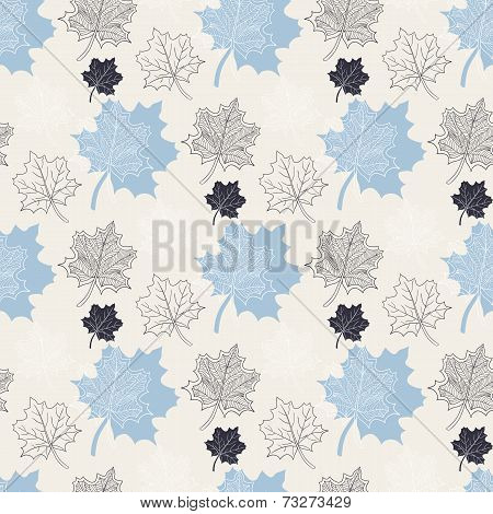 Seamless Autumn Pattern:abstract Blue Leaf,leaf Fall,defoliation,autumn Leaves,falling Leaves