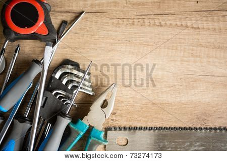 construction background with tools and copy space