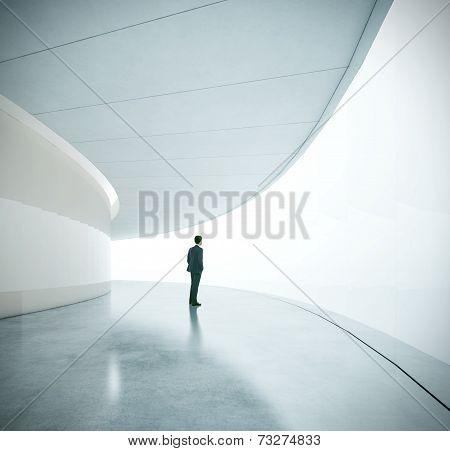 Businessman Near The Wide Futurictic Screen