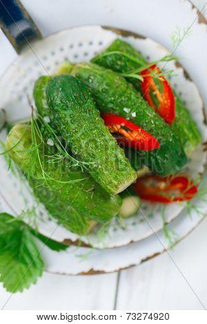 freshly-salted cucumbers on vintage enamel sieve and white wood background