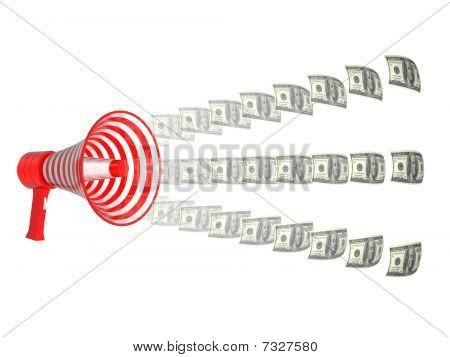 Megaphone and dollars