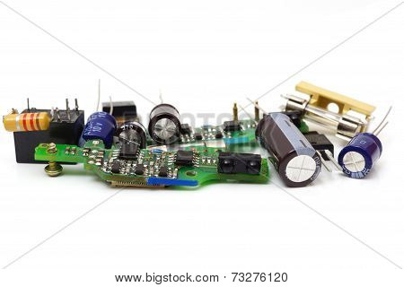 Electronic Spare Components Isolated On White Background