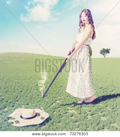 beautiful young girl  shot a flying hat. Creative concept photo and cg elements combination