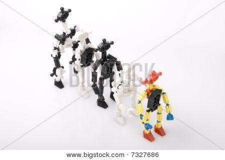 Toy Bricks People In A Queue