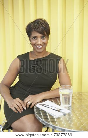 African American woman at restaurant