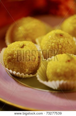 A plate full of Indian tradition sweet - Laddoo