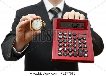 Time Is Money, Dont Be Late. Businessman Showing Five After Twelve And Calculator