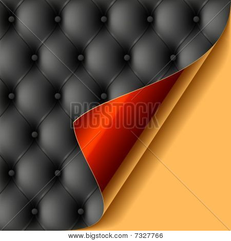 Leather upholstery with glossy curled corner. Vector.