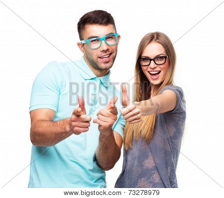 Happy Couple Smiling Holding Thumb Up Gesture, Beautiful Young Man And Woman Smile On White