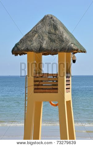 A lifeguard watchtower