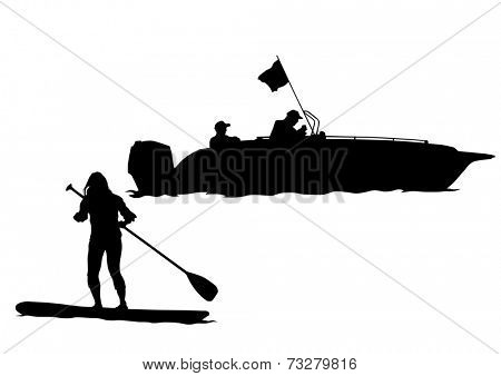 Athletes on a surfboard with a paddle on white background