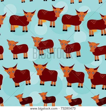 Cow, bull and two calves. Set of funny animals with cubs seamless pattern on a blue background.