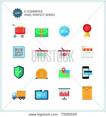 Pixel Perfect E-commerce Flat Icons