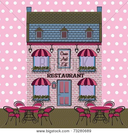 Vector Restaurant Facade. Background. Retro Style Illustration