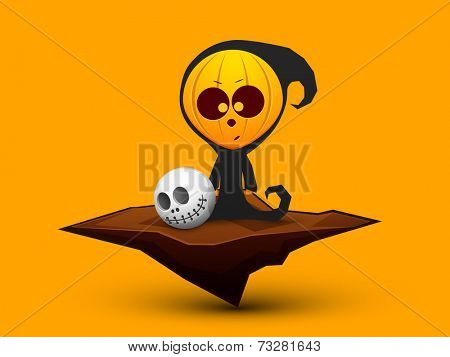 Scary ghost holding human skull on bright yellow background for Halloween night party celebrations.