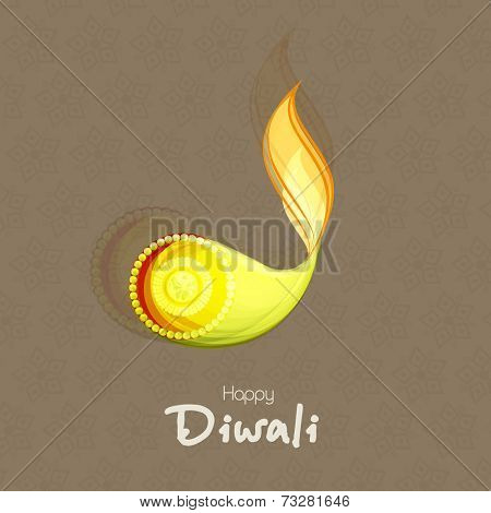 Pearl decorated illuminated oil lit lamp with stylish text of Diwali for Diwali celebration on seamless brown background.