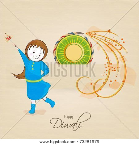 Little cute girl holding a firecrackers and stylish text of Diwali for Diwali celebration on beige background.