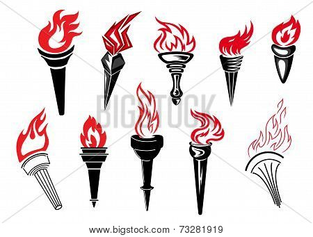 Flaming torch icons