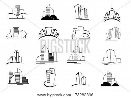 Set of stylized outline building icons