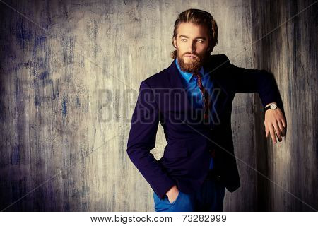 Portrait of a respectable handsome man in a suit. Men's fashion.
