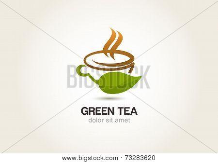 Green Tea Symbol, Natural Herbal Drink. Vector Logo Icon Template