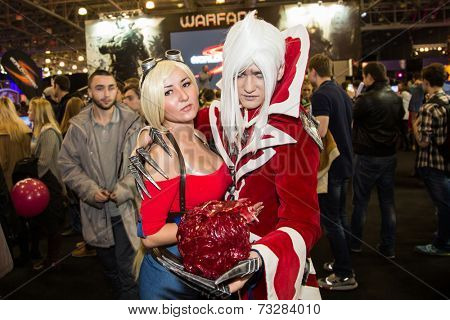 MOSCOW, RUSSIA, October 4: Comic Con attendee poses in the costume during Comic Con 2014 at The Crocus Center on October 4, 2014 in Moscow, Russia.