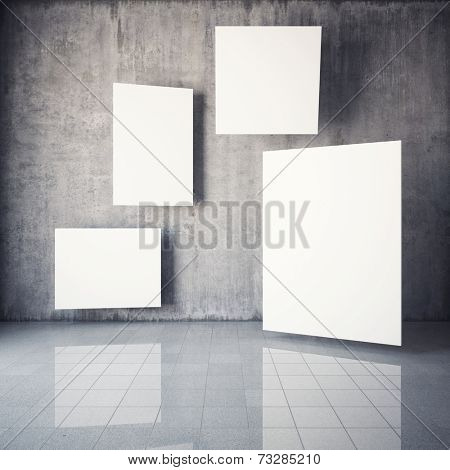 Advertising billboard in the interior with concrete walls. 3D illustration.