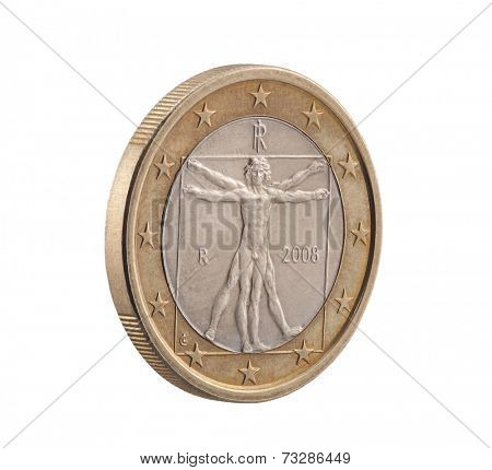 Italian One Euro with Vitruvian Man. Clipping path included.