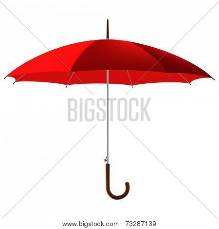 open classic red umbrella stick
