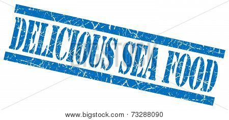 Delicious Sea Food Blue Square Grunge Textured Isolated Stamp