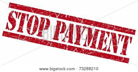 Stop Payment Red Square Grunge Textured Isolated Stamp